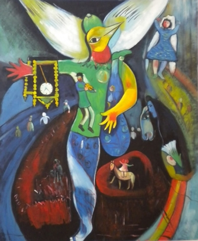"Picture: Marc. Chagall. (1945) - The journey of men towards the creation of soul. Painting entitled ""The juggler"": in the middle there is a character with the body of a man, the face and wings of a bird (freedom and dignity.) It stands on the circus ring: it raises its left leg up to its face (the difficulty of learning from one's mistakes) and is wearing a watch on its arm (it marks the course of time.)"