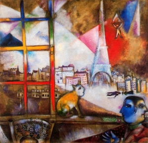 Photo: Marc Chagall (1887-1985) Paris through the window (1913). On the left, below, a human figure with two faces to represent the dual nature of man: who orders and who follows. In the middle the cat humanization of the nomadic nature and not submissive.