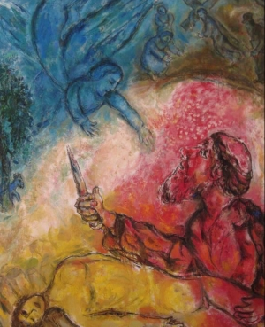 "Photo:  Marc Chagall (1960-1966). the sacrifice of Isaac. Abraham is placed in a position of acceptance to the sacrifice, sacrifice that doesn't happen, then the teaching lies in awareness to acceptance of the sacrifice in which the individual is subjected (exploitation of peoples, fanaticism, wars). ""... ideal of sacrifice and pain switches to honour and praise of the exploiting classes, enemies of joy and love for life."""