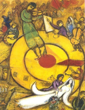 Peace Meaning, peace symbols the soul vision of the entire world with the unity of all life: PEACE In the middle a circular shape strongly marked in red (power) and a musician on it (the sound) and all around the figures (joy and ecstasy). Fhoto: Marc Chagall: 1951 Liberation.